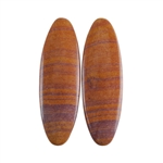 Sonora Dendritic Rhyolite Jasper Gemstone - Oval Cabochon Pair 9mm x 28mm - Matched Pair