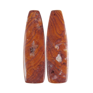 Sonora Dendritic Rhyolite Jasper Gemstone - Tapered Rectangle Cabochon Pair 9mm x 30mm
