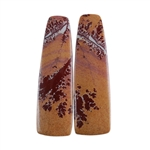 Sonora Dendritic Rhyolite Jasper Gemstone - Tapered Rectangle Cabochon Pair 9mm x 30mm - Matched Pair