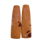 Sonora Dendritic Rhyolite Jasper Gemstone - Tapered Rectangle Cabochon Pair 10mm x 30mm - Matched Pair