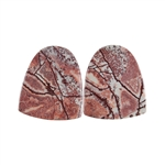 Sonora Dendritic Rhyolite Jasper Gemstone - Half Round Cabochon Pair 17x20mm - Matched Pair