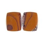 Sonora Dendritic Rhyolite Jasper Gemstone - Rectangle Cabochon Pair 16x13mm - Pak of 1