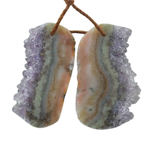 Amethyst Stalactite Gemstone - Freeform Pendants 19mm x 31mm Matched Pair