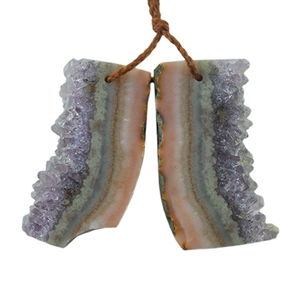 Amethyst Stalactite Gemstone - Round Freeform 41x43mm - Pak of 1