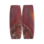 Sonora Dendritic Rhyolite Jasper Gemstone - Cabochon Barrel Pair 9mm x 25mm - Matched Pair