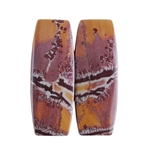 Sonora Dendritic Rhyolite Jasper Gemstone - Cabochon Barrel Pair 9x25mm - Matched Pair