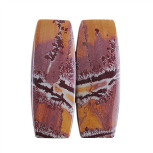 Sonora Dendritic Rhyolite Jasper Gemstone - Cabochon Barrel Pair 10mm x 25mm - Matched Pair