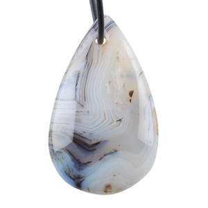 Montana Agate Gemstone - Pear Pendant 27x44mm - Pak of 1