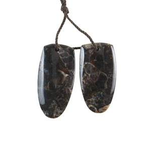 Turritella Agate Gemstone - Drop Pendants 13x25mm - 1 Pair