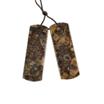 Turritella Agate Gemstone - Rectangle Pendants 13x39mm - 1 Pair