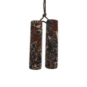 Turritella Agate Gemstone - Rectangle Pendants 10x40mm - 1 Pair
