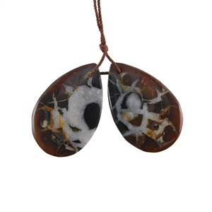 Septarian Gemstone - Pear Pendant 21x33mm - 1 Pair