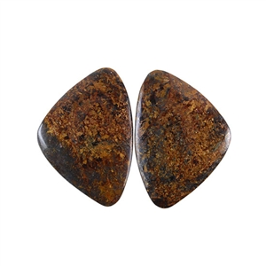Natural Bronzite Gemstone - Cabochon Triangles 19x27mm - 1 Pair