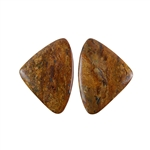 Natural Bronzite Gemstone - Cabochon Triangles 20x28mm - 1 Pair