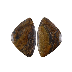 Natural Bronzite Gemstone - Cabochon Triangles 18x28mm - 1 Pair