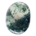 Natural Green Moss Agate Gemstone - Freeform Cabochon 19.5mm x 25mm Pkg - 1