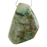 Chrysocolla in Quartz Gemstone - Freeform Drilled Pendant 35mm x 52mm Pkg - 1