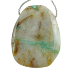 Chrysocolla in Quartz Gemstone - Freeform Drilled Pendant 33mm x 45mm Pkg - 1