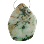 Chrysocolla in Quartz Gemstone - Freeform Drilled Pendant 34mm x 45mm Pkg - 1
