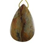 Silver Leaf Jasper Gemstone - Pear Pendant 33mm x 51mm - Pak of 1