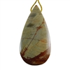 Silver Leaf Jasper Gemstone - Pear Pendant 26mm x 51mm - Pak of 1