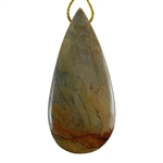 Silver Leaf Jasper Gemstone - Pear Pendant 28mm x 59mm - Pak of 1