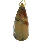 Silver Leaf Jasper Gemstone - Pear Pendant 26mm x 62mm - Pak of 1
