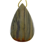 Silver Leaf Jasper Gemstone - Pear Pendant 32mm x 50mm - Pak of 1