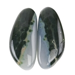 Natural Ocean Jasper Gemstone - Cabochon Round 13mm x 19mm Matched Pair