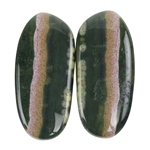 Natural Ocean Jasper Gemstone - Cabochon Freeform 10mm x 21mm - Matched Pair