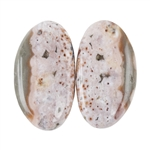 Natural Ocean Jasper Gemstone - Cabochon Round 12mm x 13mm Matched Pair