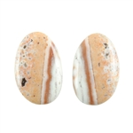Natural Ocean Jasper Gemstone - Cabochon Round 10mm x 16mm Matched Pair