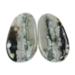 Natural Ocean Jasper Gemstone - Cabochon Round 11mm x 16mm Matched Pair