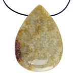 Fossil Coral Gemstone - Pear Pendant 28mm x 39mm
