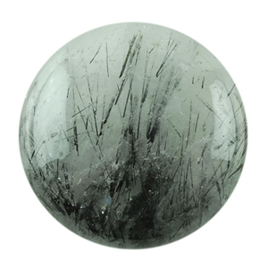 Black Rutilated Quartz Gemstone - Round Cabochon 20mm Pkg - 1