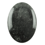Black Rutilated Quartz Gemstone - Round Cabochon 25mm x 35mm Pkg - 1