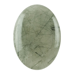 Black Rutilated Quartz Gemstone - Oval Cabochon 22mm x 30mm Pkg - 1