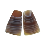 Botswana Agate Gemstone - Bell Cabochon Pair 16mm x 24mm - Matched Pair