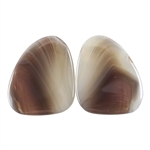 Natural Botswana Agate Gemstone - Cabochon Triangle 20mm x 22mm Matched Pair