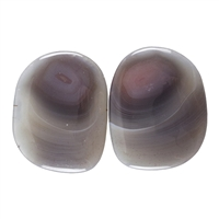 Natural Botswana Agate Gemstone - Cabochon Capsule 13mm x 28mm Matched Pair