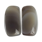 Botswana Agate Gemstone - Freeform Cabochon Pair 14mm x 26mm - Matched Pair