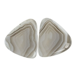 Botswana Agate Gemstone - Freeform Cabochon Pair 19mm x 22mm - Matched Pair