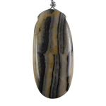 Natural Zebra Jasper Gemstone -  Oval Pendant 25mm x 54mm - Pak of 1