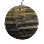 Natural Zebra Jasper Gemstone -  Round Pendant 39mm - Pak of 1