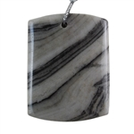Natural Zebra Jasper Gemstone -  Rectangle Pendant 36mm x 46mm - Pak of 1