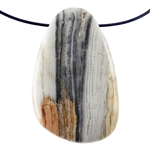Natural Zebra Jasper Gemstone -  Oval Pendant 27mm x 49mm - Pak of 1
