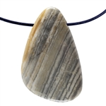 Black Zebra Jasper Gemstone -  Triangle Pendant 21mm x 37mm - Pkg of 1