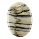 Black Zebra Jasper Gemstone -  Oval Pendant 32mm x 44mm - Pkg of 1