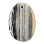 Black Zebra Jasper Gemstone -   Freeform Pendant 28mm x 41mm - Pkg of 1