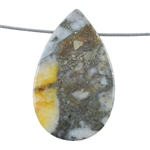 Pyrite in Quartz Gemstone - Pear Pendant 31mm x 50mm - Pak of 1